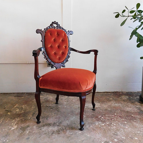 Antique Tufted Persimmon Velvet Chair