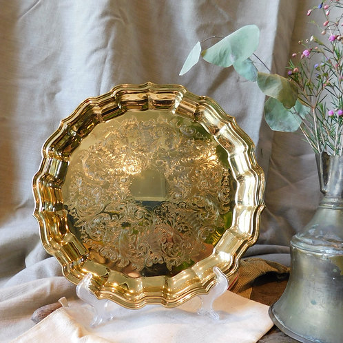 Etched Gold Decorative Tray