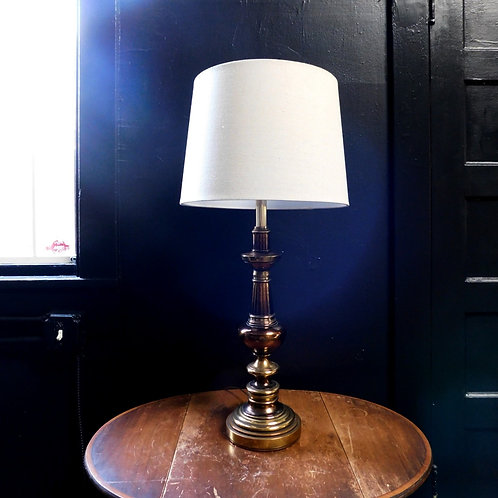 Brass & Amber Table Lamp