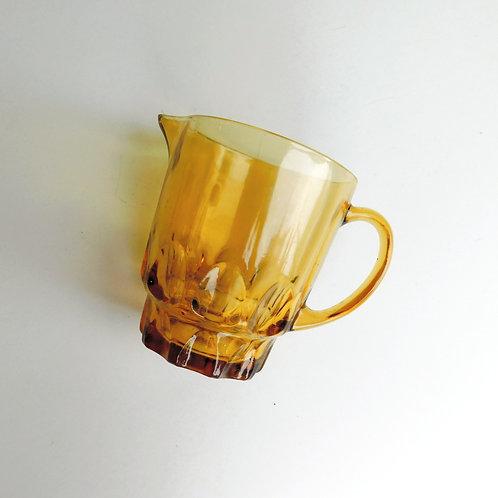 Amber Cut Glass Frosty Pitcher