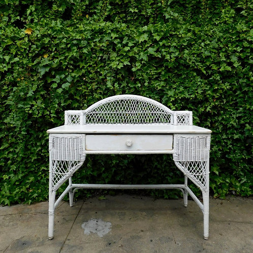 Bohemian White Rattan Wicker Desk