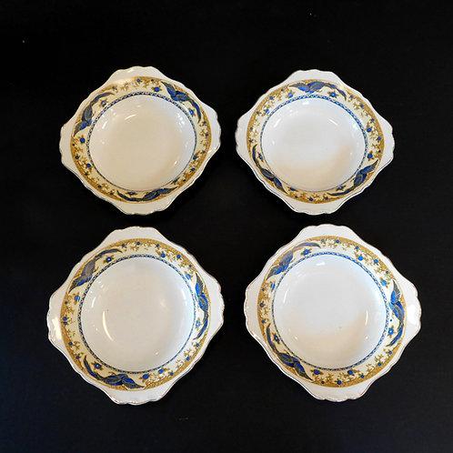 Vintage Blue Bird Pasta Bowls (set of 4)