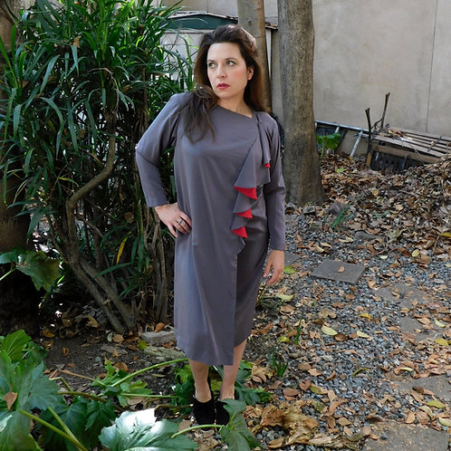 Vintage Asymmetrical Taupe & Rouge Dress