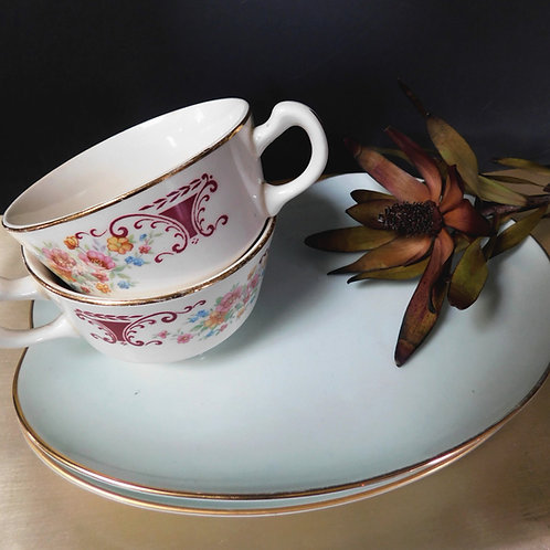 Blue Plate & Saucer Set for 2