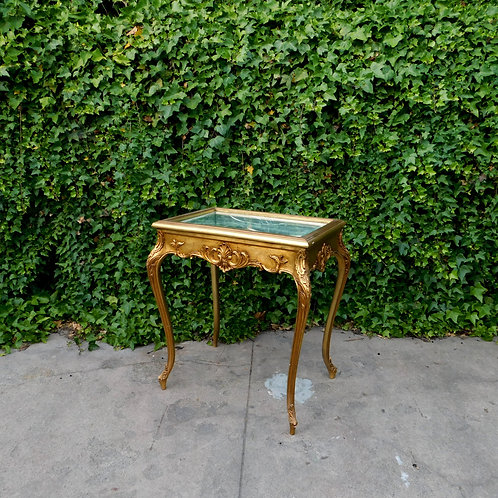 Italian Dark Gold Curio Flip Top Vitrine Side Table