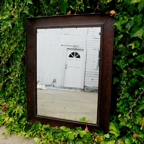 Small Brown Wooden Mirror
