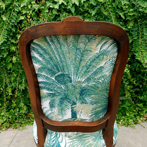 Italian Carved Wood Botanical Accent Chair