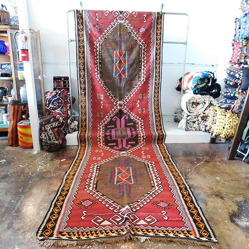 "Turkish Kilim Runner 13'6"" x 4'4"""