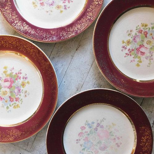 Vintage Burgundy Floral Dinner Plate Set of 4