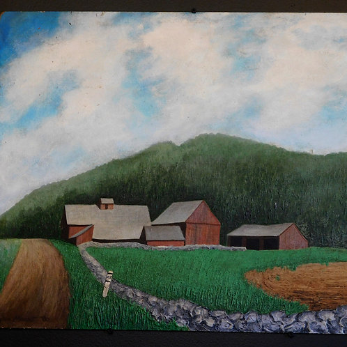 Farm Scene Oil Painting