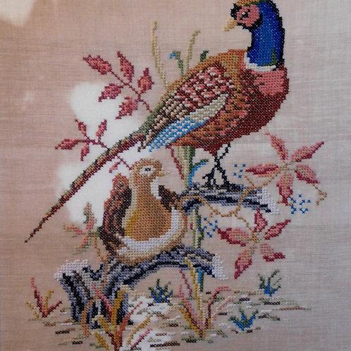 Embroidered Pheasant Framed Art