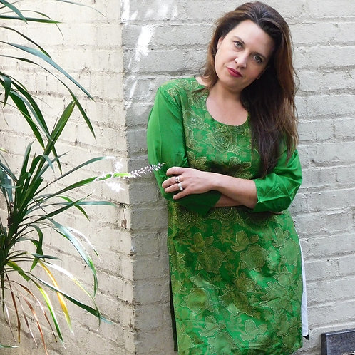 Vintage Emerald Rosette Tunic