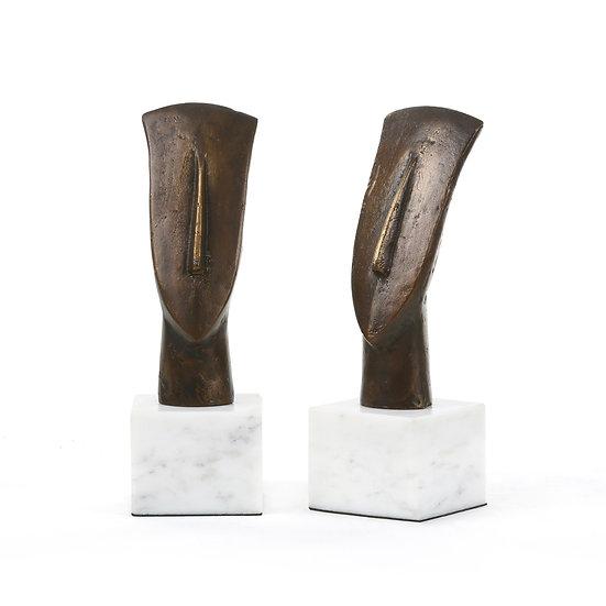 Statue in Bronze Delos Head (Paire)