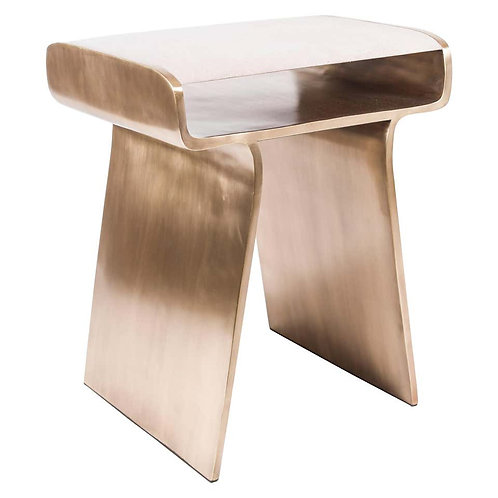 Side Table in Cream Shagreen and Bronze-Patina Brass