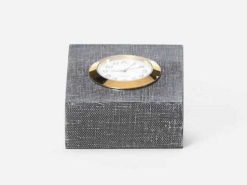 Square Clock Faux Linen Metallic Denim
