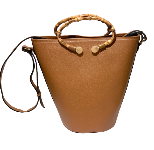 Bag In Leather with natural bamboo handle