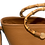 Thumbnail: Bag In Leather with natural bamboo handle
