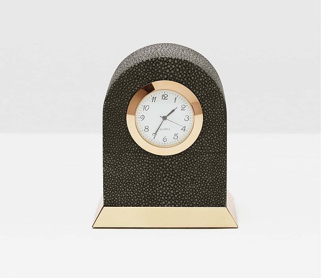 Round Clock Dark Mishroom Faux Shagreen & Brass