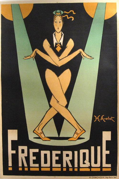 """French Stone Litho """" Frederique"""" Avelot c1927"""