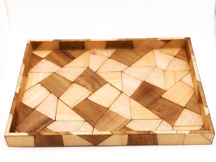 Natural wood tray Mosaic M