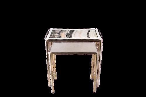Side tables set of 2 in  onyx & shagreen brass