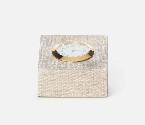 Square Clock Faux Linen Warm Silver