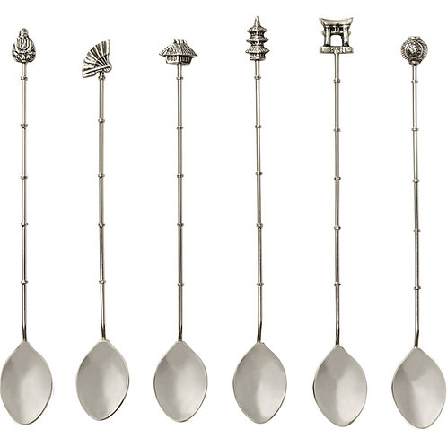 Chinoiserie Iced Tea Spoons, (Set of 6 pieces)
