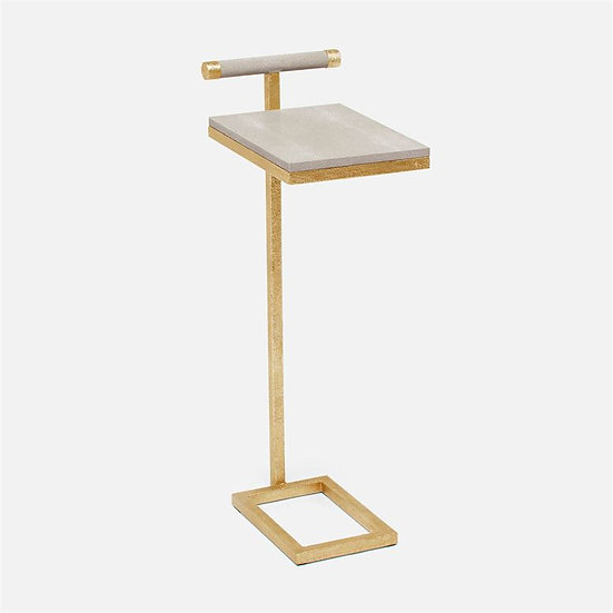 Gold-plated & Faux Shagreen Side Table Sand
