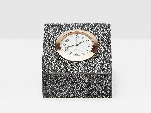 Square Clock Cool Gray Faux Shagreen