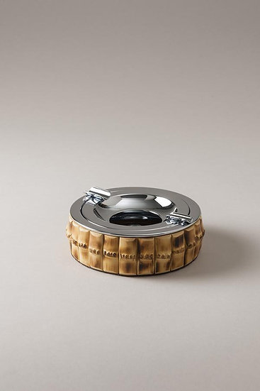 Bamboo Root and Inox Ashtray