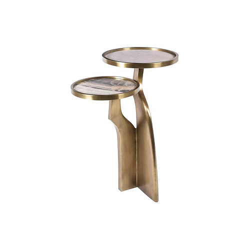 Side Table in Onyx, Shagreen & Bronze-Patina Brass