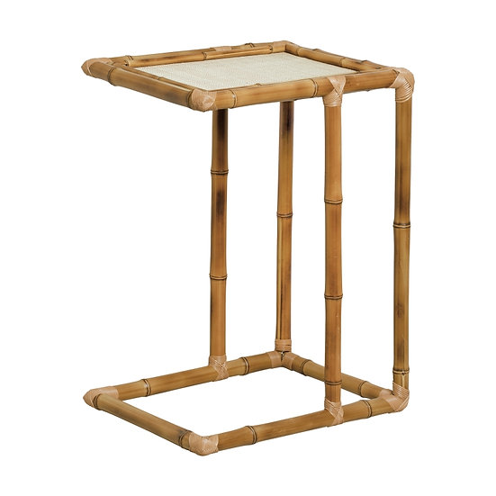 Side table bamboo & braided straw