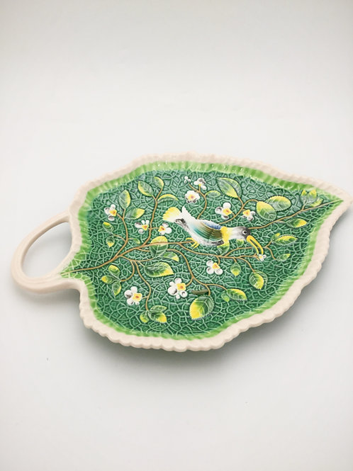 Green Leaf Plate with Bird