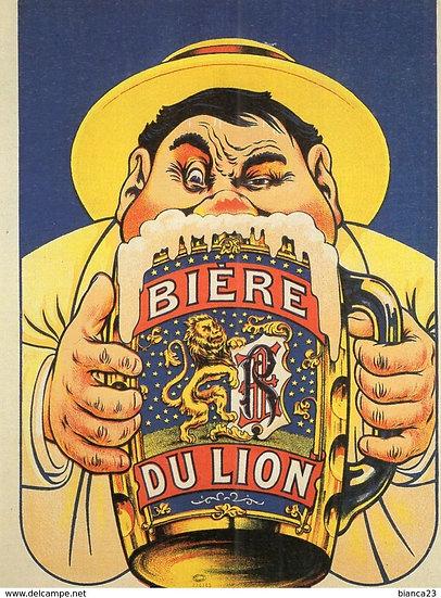 """French Stone Litho """" Bière du lion"""" c1908"""