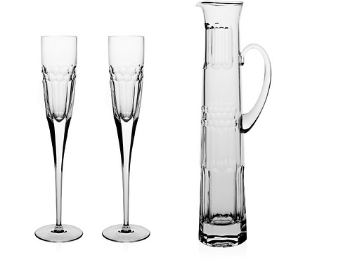 Champagne Flutes with Jug in crystal XXL( Set of 3 pieces for 2 persons)