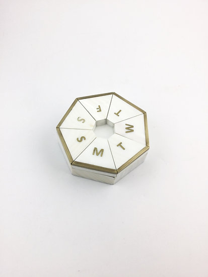 Pill Box Round in White Shell