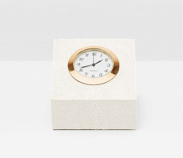 Square Clock Cook Snow Faux Shagreen