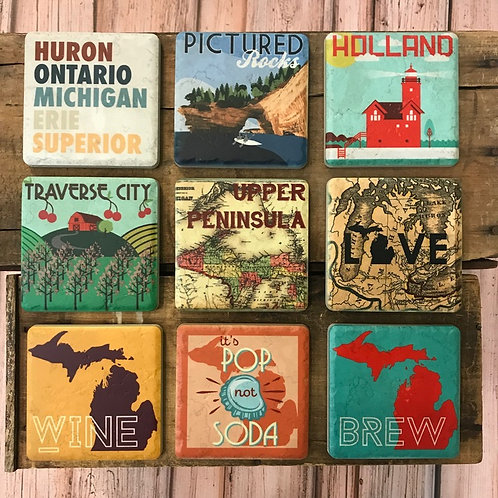 Michigan Ceramic Coasters