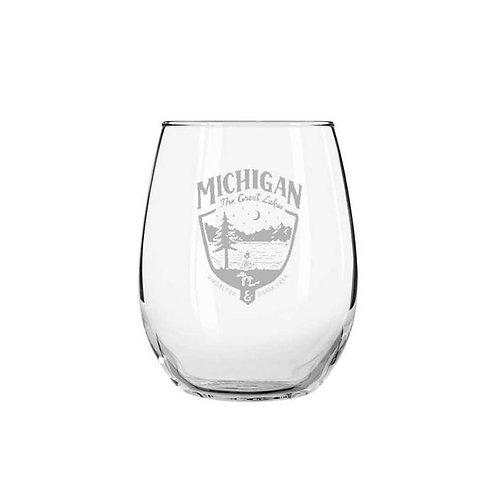 Michigan Shield Wine Glass