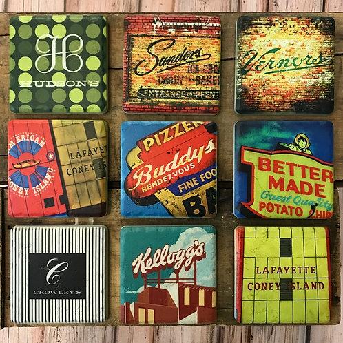 Detroit Landmarks - Ceramic Coasters