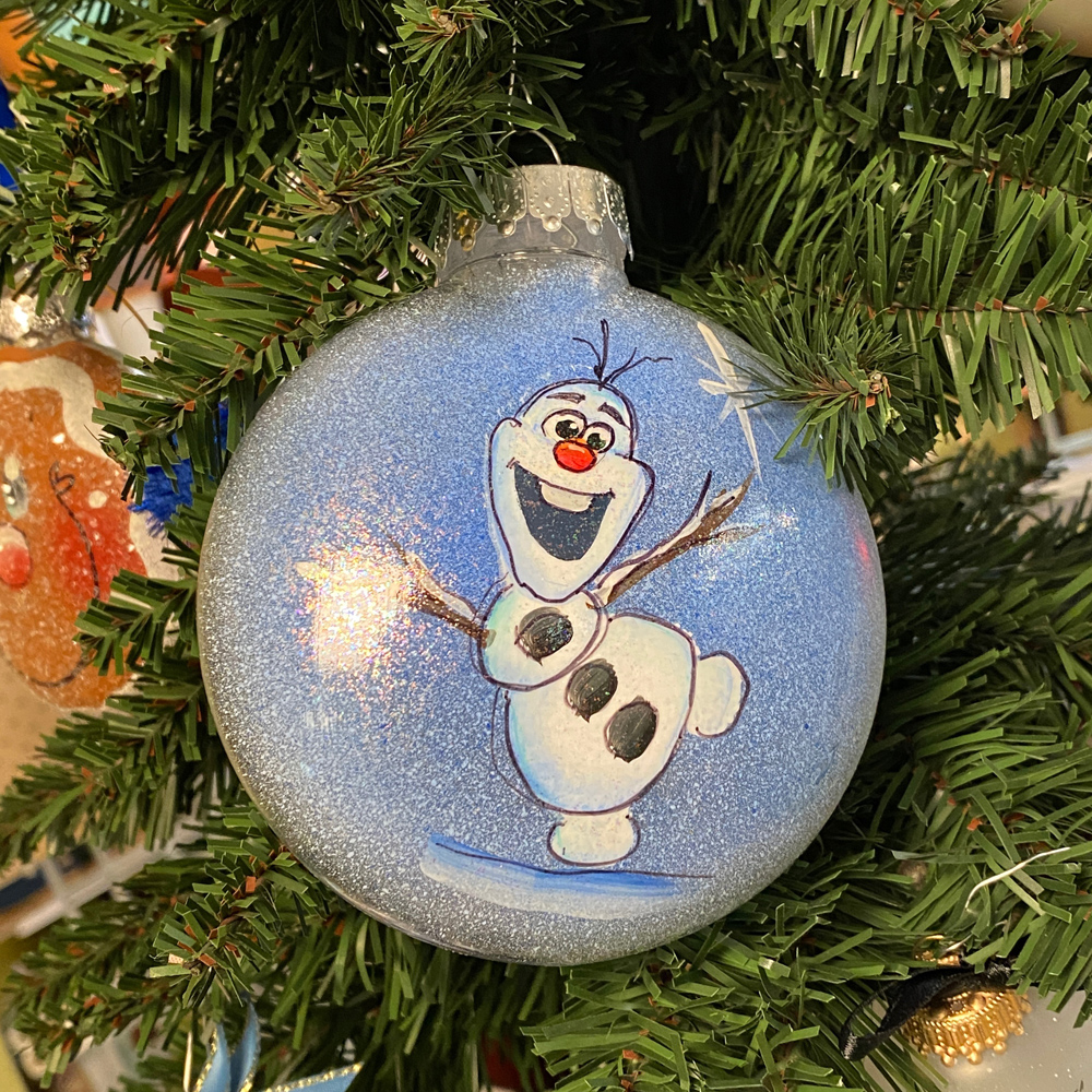 hand painted olaf ornament