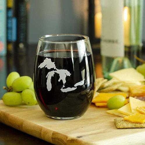 Lake Life Mi Wine Glass