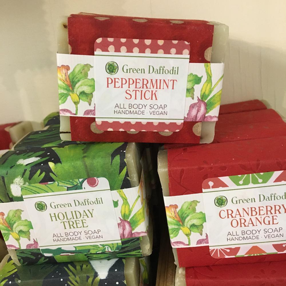 green daffodil soap