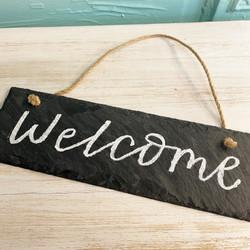 slate welcome sign