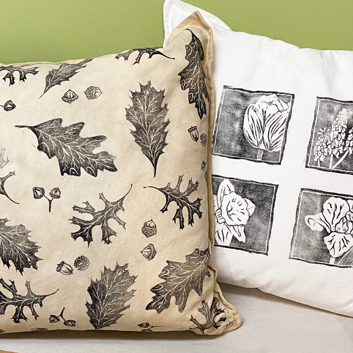 linocut print pillows