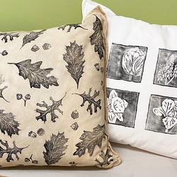 linocut print pillows