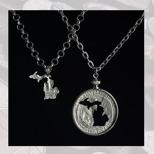 Michigan Carved Coin Necklace Set (Multiple Options)