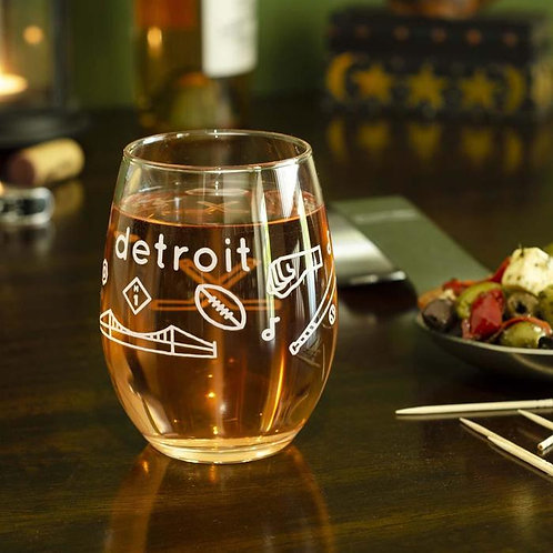 Detroit Icons Wine Glass