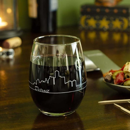 Detroit Skyline Wine Glass
