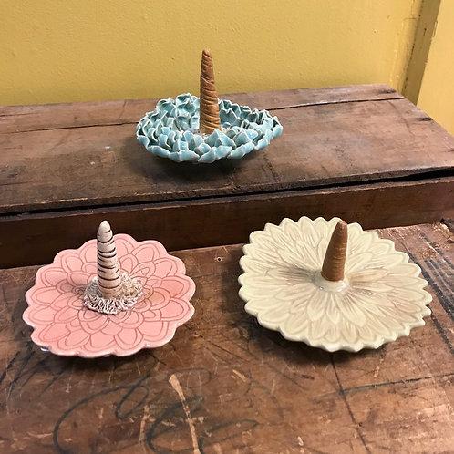 Ceramic Flower Ring Holders